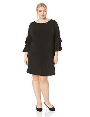 Gabby Skye Women's Plus Size Round Neck 3/4 Bow Sleeve Sheath Dress