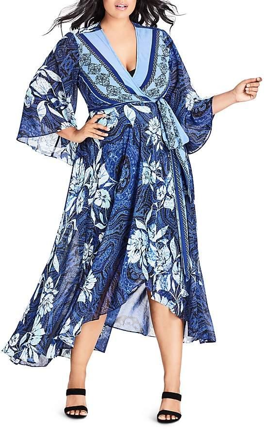 Plus Illusion Printed Maxi Wrap Dress