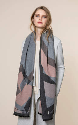 Soia & Kyo NEFLI woven scarf with fray and geometric print