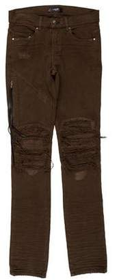 Amiri Distressed Leather-Trimmed Biker Jeans w/ Tags