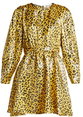 Diane von Furstenberg Heyford Leopard Jacquard Silk Blend Mini Dress - Womens - Yellow Print