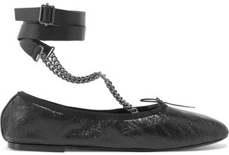 Valentino - Chain-embellished Cracked Glossed-leather Ballet Flats - Black $795 thestylecure.com