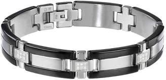 JCPenney FINE JEWELRY Mens CT. T.W. Diamond Stainless Steel & Black IP Link Bracelet