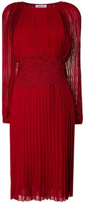 P.A.R.O.S.H. lace detail pleated dress