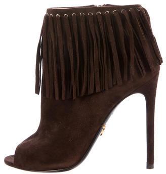 pradaPrada Peep-Toe Fringe Ankle Boots
