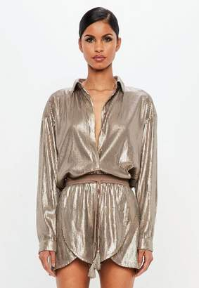 Missguided Bronze Sequin Shirt