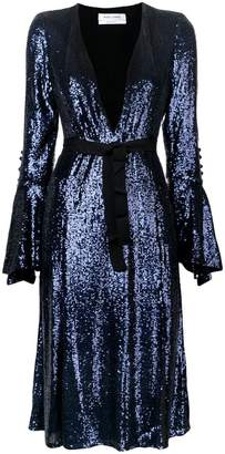 Prabal Gurung front slit sequin flared dress