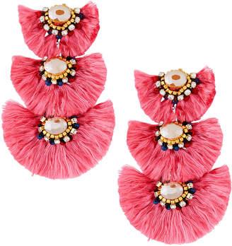 Nakamol Triple-Drop Fringe Earrings, Pink