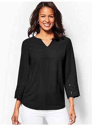 Talbots Embroidered-Sleeve Tunic Top