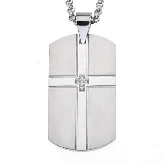 FINE JEWELRY Cubic Zirconia Stainless Steel Double Cross Dog Tag Pendant