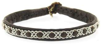 Maria Rudman Handmade Single Wrap Brown Leather Woven Pewter Bracelet
