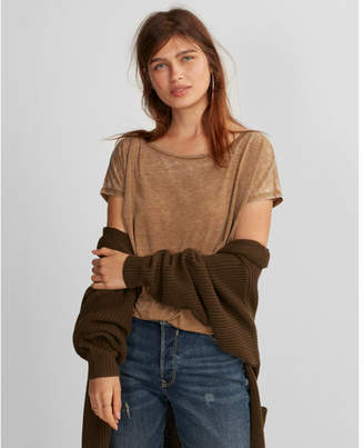 Express one eleven burnout off the shoulder london tee