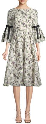 Erdem Bell-Sleeve Flare Dress