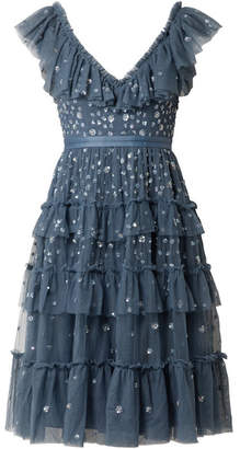 Needle & Thread Sunburst Tiered Embellished Ruffle-trimmed Tulle Midi Dress - Storm blue