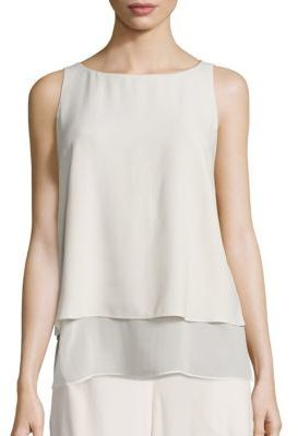 Eileen Fisher Layered Silk Georgette Shell $258 thestylecure.com