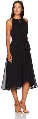 Tahari by Arthur S. Levine Women's Petite Pettite Sleevless Key Hole Tea Length Dress