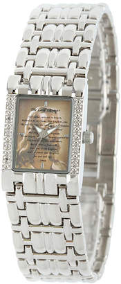 FINE JEWELRY Personalized Womens Diamond-Accent Silver-Tone The Lords Prayer Bracelet Watch