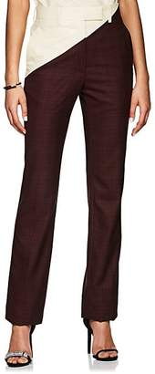 Calvin Klein Women's Plaid Wool Straight Trousers - Burgundy Black Red Cream