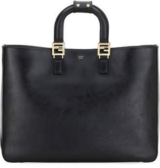 Fendi Glacier Large Calf Leather Shopping Tote Bag