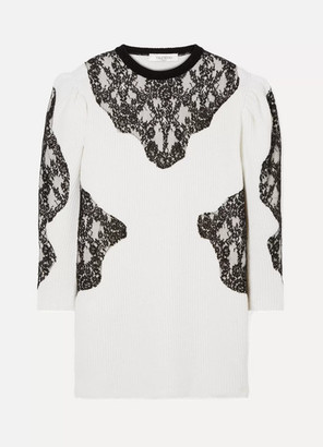 Valentino Camelia Lace-paneled Ribbed Wool Mini Dress - Cream