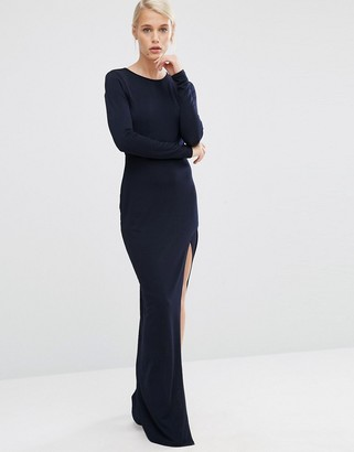 ASOS Crepe Long Sleeve Maxi Dress with Mesh Insert $73 thestylecure.com
