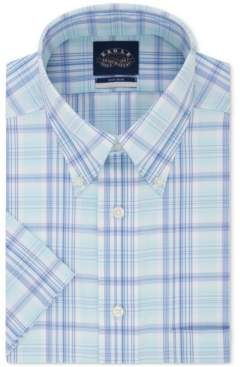 Eagle Men's Button Down Plaid Non-Iron Stretch Short Sleeve Dress Shirt