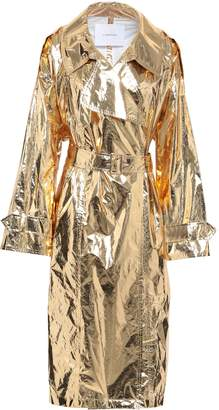 Pushbutton Metallic Coated Pvc Trench Coat