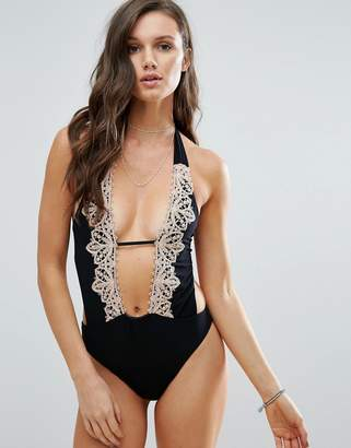 Blue Life Lace Embroidery Swimsuit