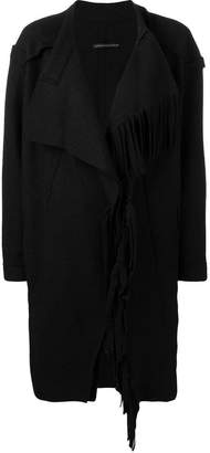 Y's wrap front fringed coat