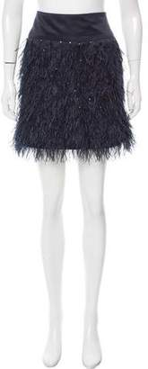 Lela Rose Ostrich Feather Mini Skirt