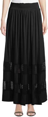 Three Dots Lace-Trim Pleated Cotton Maxi Skirt