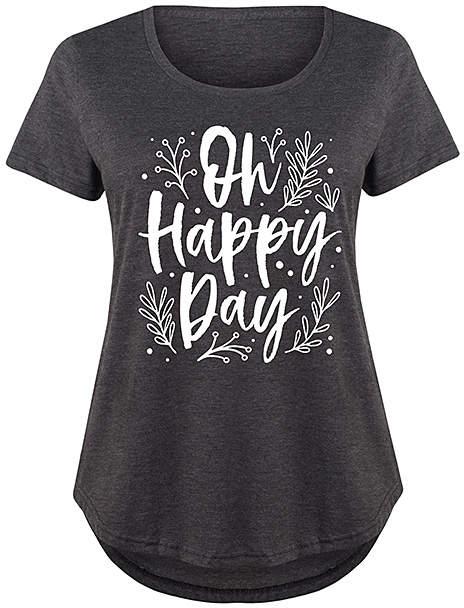 Heather Charcoal 'Oh Happy Day' Scoop Neck Tee - Plus