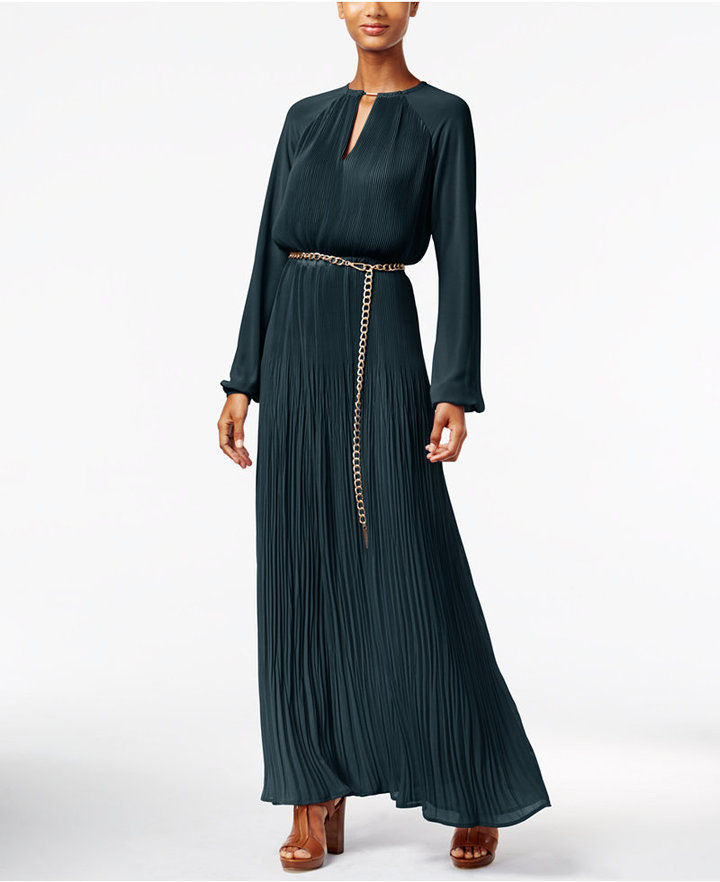MICHAEL Michael Kors Pleated Belted Maxi Dress 2