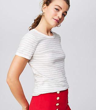 LOFT Petite Striped Textural Sweater Tee