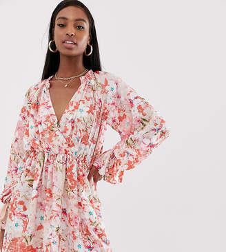 Missguided Tall chiffon wrap dress in floral print