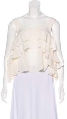Apiece Apart Cold-Shoulder Silk Top