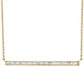 Couture Sethi White Baguette Diamond Bar Necklace - Yellow Gold