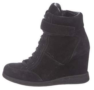 82ef8790bd9c Prada Sport Suede Wedge High-Top Sneakers