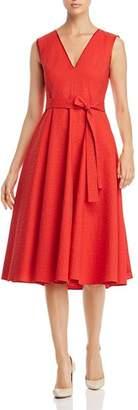 Paule Ka Textured Belted A-Line Midi Dress