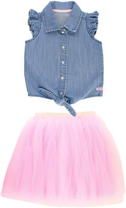 RuffleButts Chambray Tie Top & Tulle Skirt Set