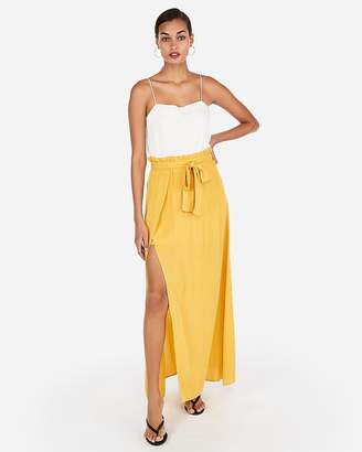 Express Super High Waisted Sash Waist Maxi Skirt