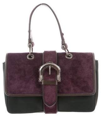 Alberta Ferretti Suede & Leather Top Handle Bag