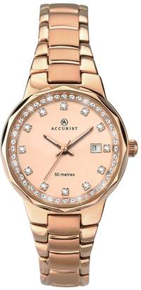 Accurist Jewelled Rose Gold Dial Rose Gold Stainless Steel Ladies Watch