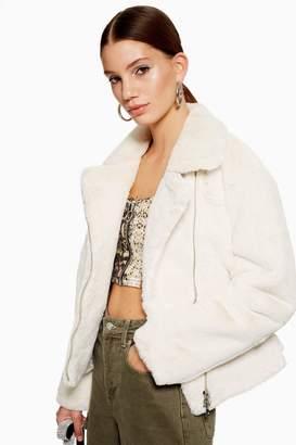 Topshop TALL Fux Fur Biker Jacket