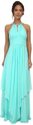 Donna Morgan Siena Beaded Halter Long Gown Dress Women's Dress