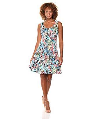 MSK Women's Daytime Flounce Dress with an All Over Floral Print