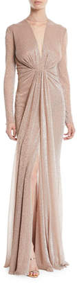 Talbot Runhof Nominee Deep-V Long-Sleeve Gown