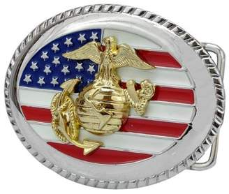 Buckle Rage Usa Flag G Marine Corps Eagle Globe Military Belt Buckle, SILVER, 303