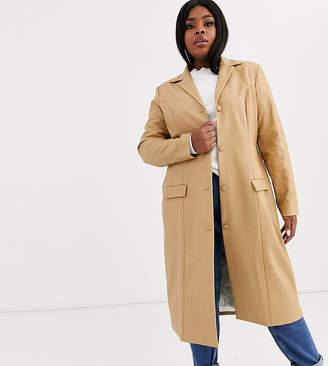 Unique 21 Hero Plus UNIQUE21 Hero Plus longline jacket in vintage faux leather