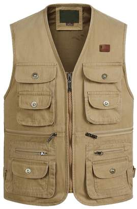 Feicuan Men's Casual Outdoor Utility Multi Pockets Vest